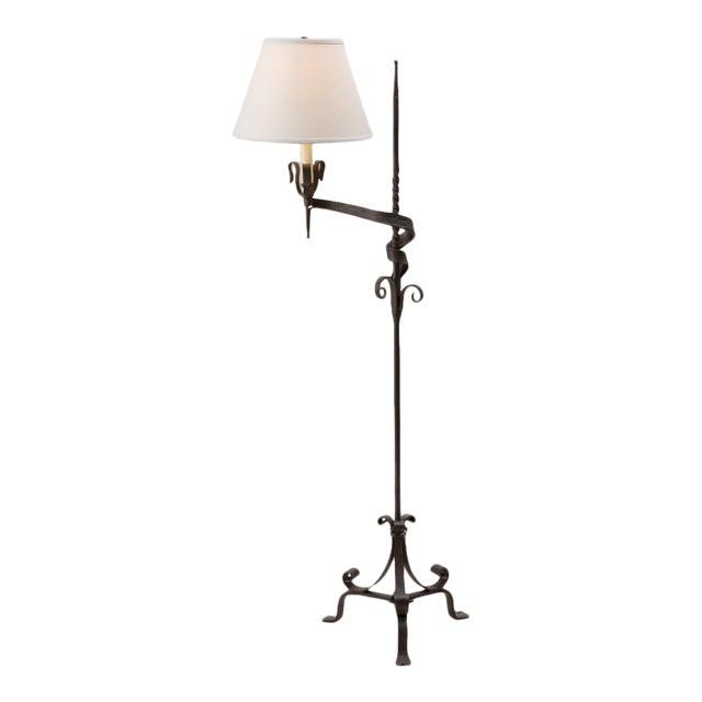 Paul Ferrante Spanish Colonial Wrought Iron Floor Lamp For Sale