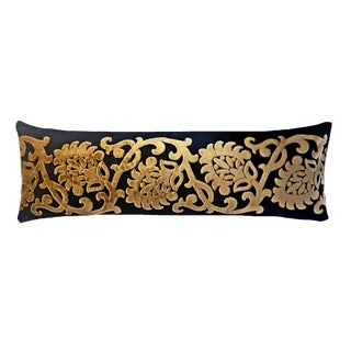 "34"" Black and Gold Lumbar Pillow For Sale"