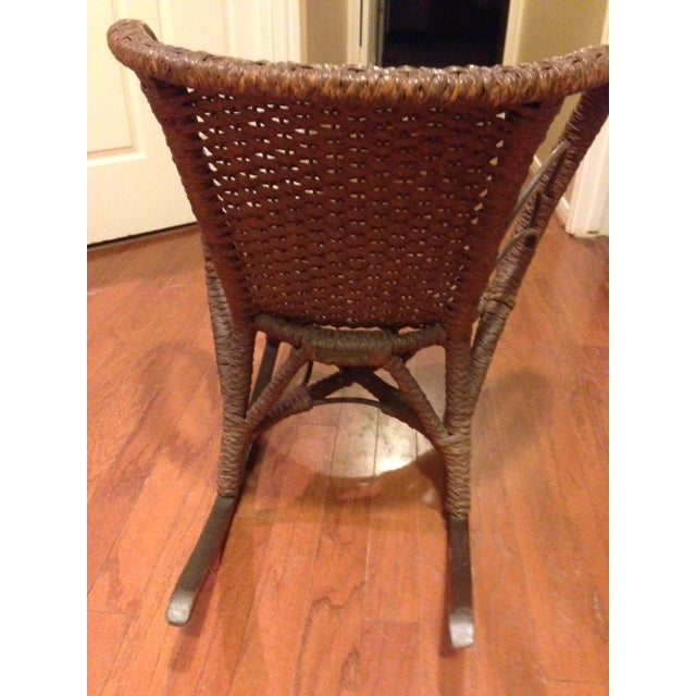 Late 19th Century Mfg Vintage Child's Rocking Chair - Rush Weaving - Excellent Condition For Sale - Image 5 of 11