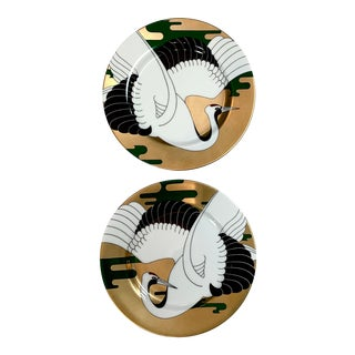 1970s Fitz and Floyd 'Golden Tancho Stork' Japanese Porcelain Asian Crane Salad Plates - a Pair For Sale