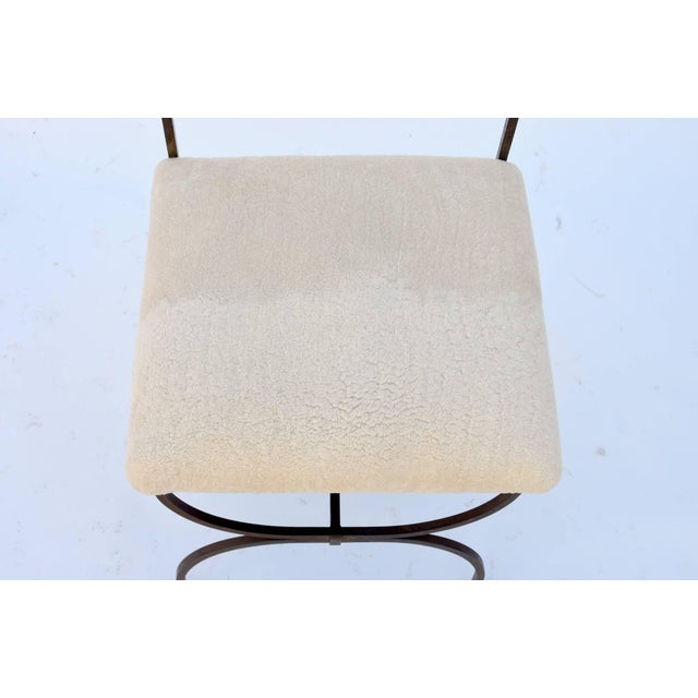 Exceptional Wrought Iron and Sheepskin Side Chair by Gilbert Poillerat For Sale In Los Angeles - Image 6 of 10