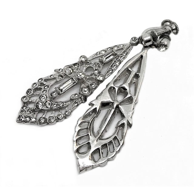 Art Deco 1920s Clear Faceted Stone Dangling Earrings For Sale - Image 3 of 5
