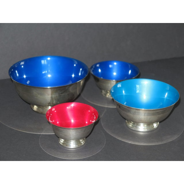 Reed & Barton Revere Silverplate Enamel Bowls - Set of 4 For Sale - Image 5 of 5