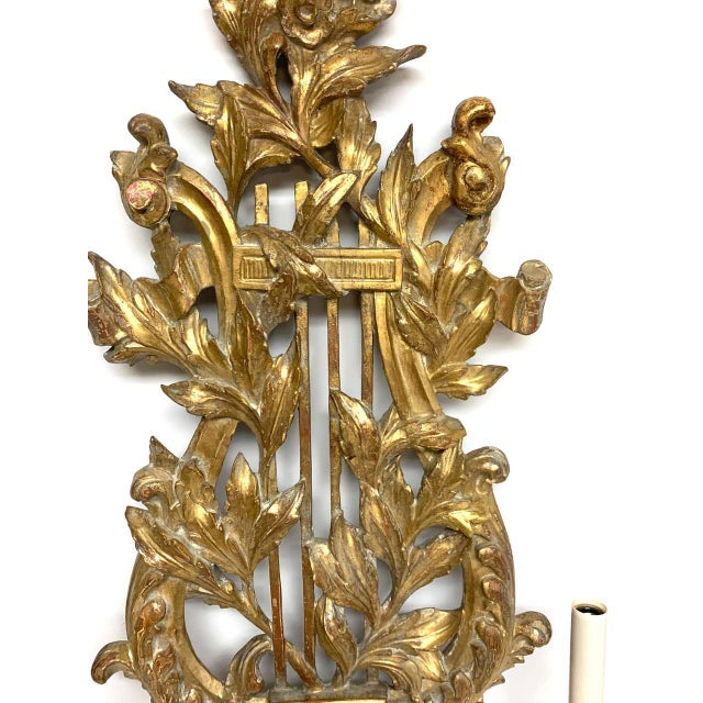 Bronze Pair of French Carved Giltwood Lyre Motif Three Light Wall Sconces For Sale - Image 8 of 10