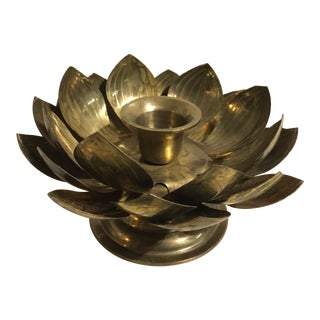 1971 Solid Brass Footed Lotus Blossom Candle Holder For Sale
