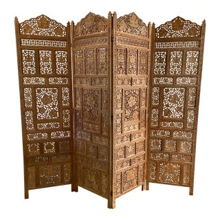 Mid-Century Teak Wood Folding Screen Anglo Indian 4 Panel Privacy Screen For Sale