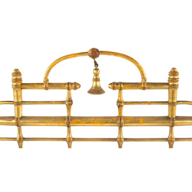 Victorian French Victorian Gilt Faux Bamboo Fire Screen For Sale - Image 3 of 5
