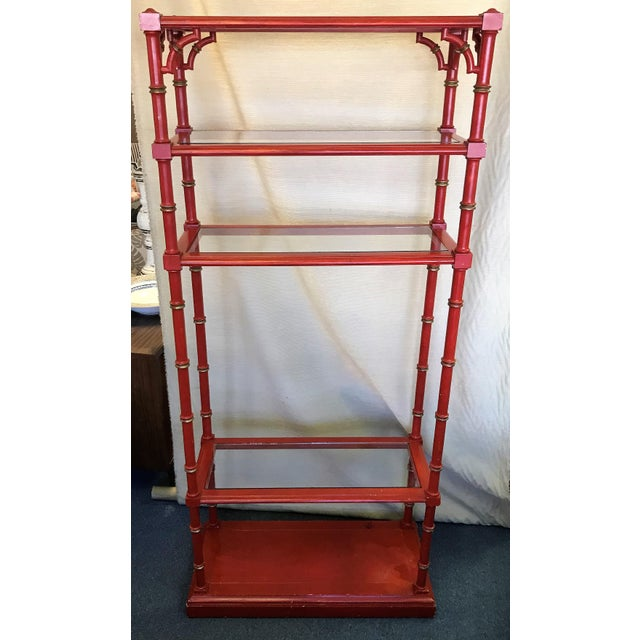 Chinese Chippendale Faux Bamboo and Glass Étagère For Sale In West Palm - Image 6 of 11