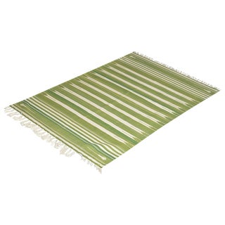 Rosemary Rug, 8x10, Forest Green & White For Sale