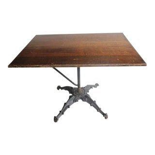 Early 20th C. Antique Cast Iron Base Drafting Table For Sale