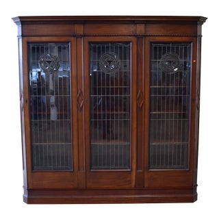 Hale & Kilburn Antique Art Nouveau / Aesthetic Movement Mahogany Leaded Glass Door Bookcase For Sale