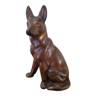 Vintage Bronze Color German Shepherd Statue For Sale