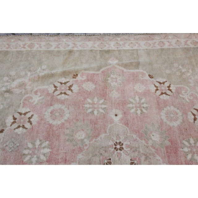 "Vintage Muted Turkish Oriental Rug Carpet - 10'11"" x 6'7"" - Image 9 of 10"