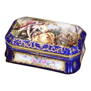 Early 20th Century French Sèvres Painted Porcelain and Gilt Brass Jewelry Box For Sale