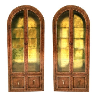 Vintage Glass, Burlwood and Brass Cabinets by Mastercraft —a Pair For Sale