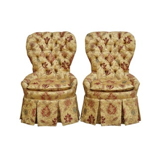 French Tufted Slipper Chairs - a Pair