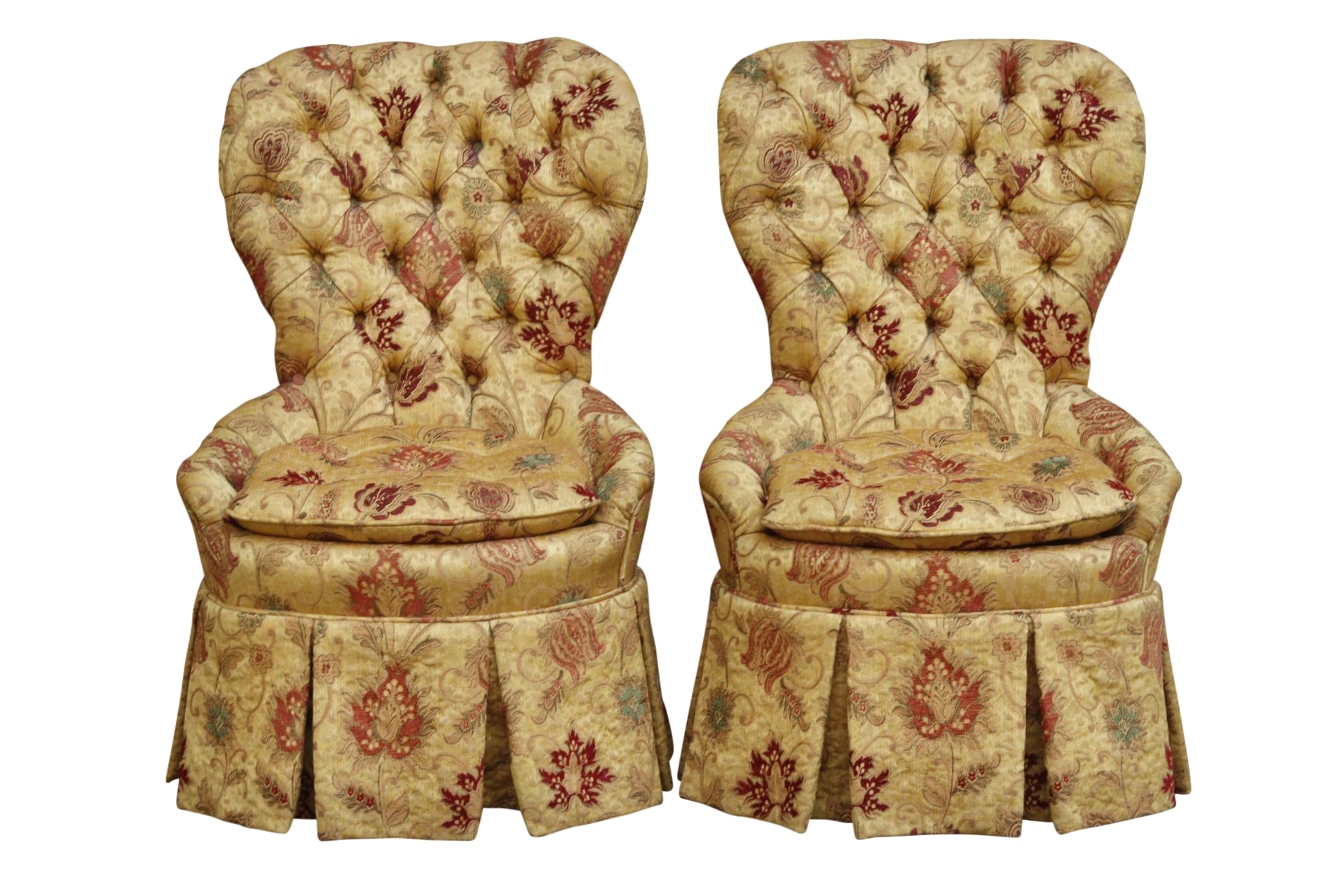 French Tufted Slipper Chairs   A Pair