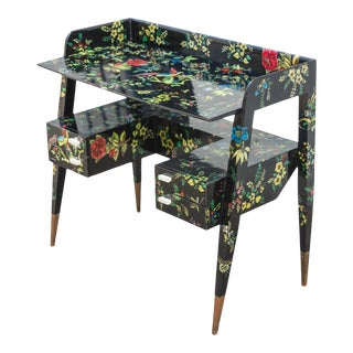 1950s Mid-Century Modern Gio Ponti and Piero Fornasetti Writing Desk For Sale
