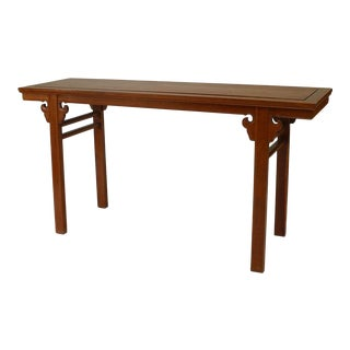 Asian Chinese Style Hardwood Narrow Console Table For Sale