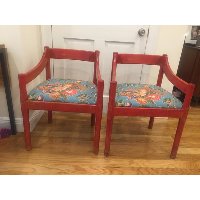 1960s Vintage Red Carimate Chairs by Vico Magistretti for Cassina- A Pair For Sale - Image 9 of 11