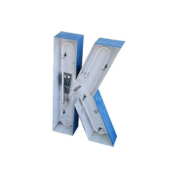 Lg. Industrial Blue & White Metal Marquee Letter K - Image 4 of 6