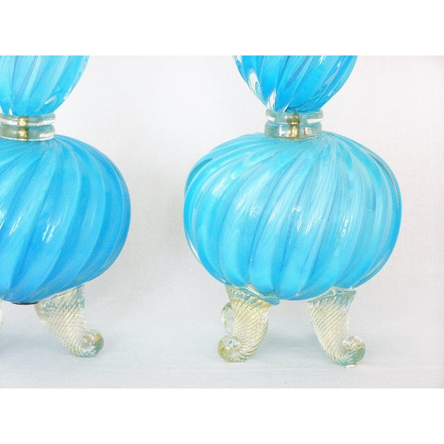 Blue Barovier & Toso Blue and Gold Italian Murano Glass Mid-Century Modern Table Lamps Venetian Italy- a Pair Millennial For Sale - Image 8 of 11