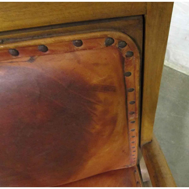 Wood Carved Wood & Leather Lounge Chairs For Sale - Image 7 of 12