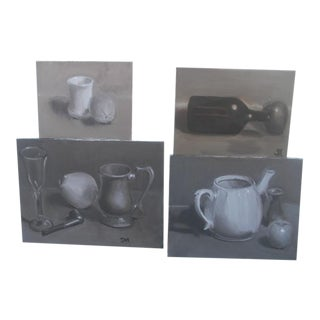 Traditional Collection of Grayscale Still Life Paint Studies - Set of 4 For Sale
