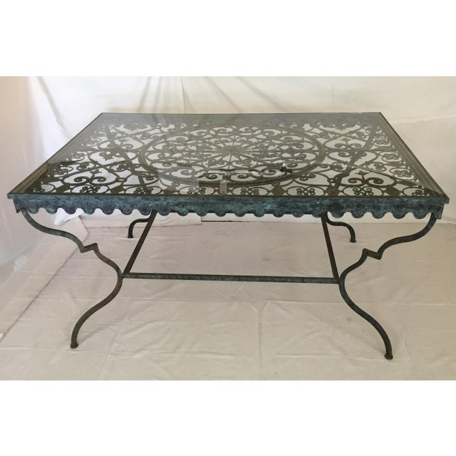 1940s French Provincial Iron Table With Glass Top For Sale - Image 13 of 13