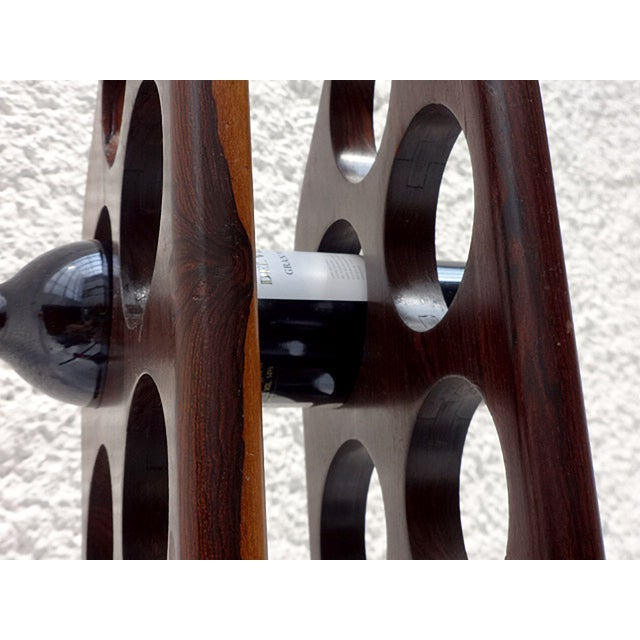 Brass Mid-Century Modern Cocobolo Wine Rack For Sale - Image 7 of 7