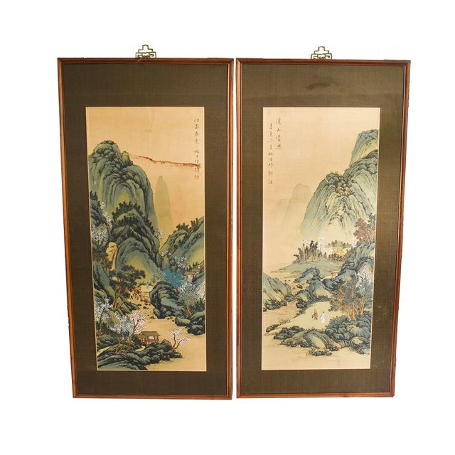 Vintage Han Palace Art Co. Batik Scroll Framing Oil Painting Wood Carving Panel. Original tag on back of wood frame fell...