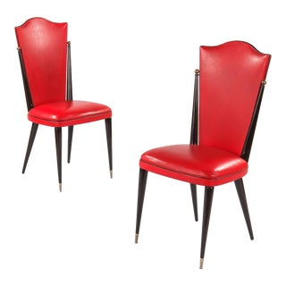 1960s Mid-Century Modern Red Vinyl Side Chairs - a Pair For Sale