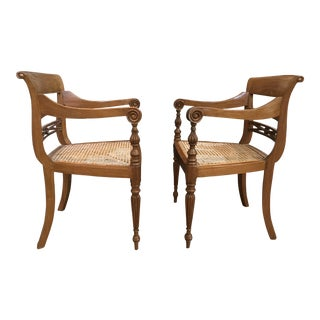 Mid-Century Modern Style Cane Seat Chairs - A Pair