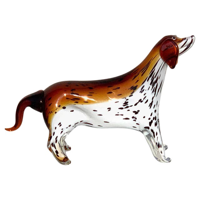 Murano Glass Figure of Spotted Dog For Sale