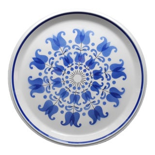 Mid-Century Round and Flat Porcelain Serving Platter by Mikasa For Sale