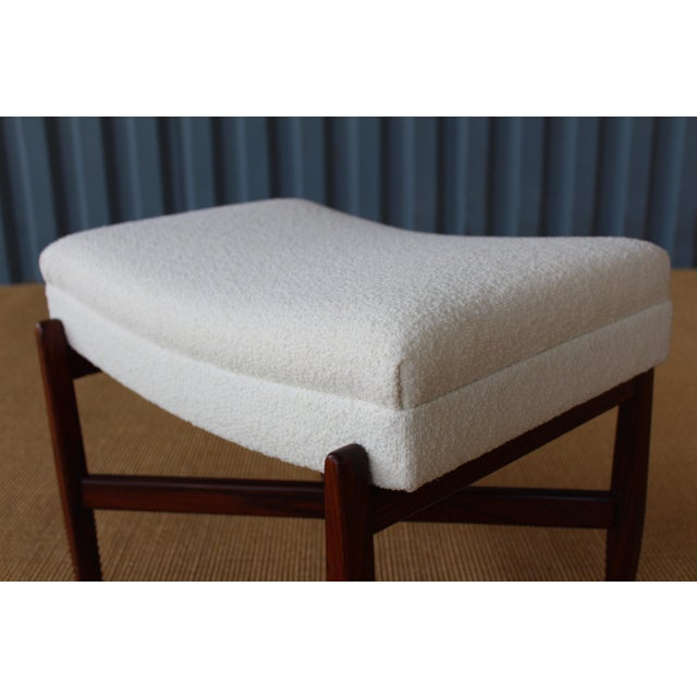 Mid-Century Modern Rosewood Upholstered Footstool, Denmark, 1950s For Sale - Image 3 of 6