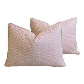 "Italian Mariano Fortuny Pink Canestrelli & Velvet Feather/Down Pillows 24"" X 18"" - Pair For Sale"