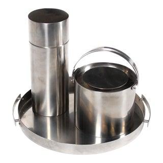 1960's Arne Jacobsen Cylinda Line for Stelton Danish Modern Cocktail Ice Bucket Bar Set - 3 Pieces For Sale