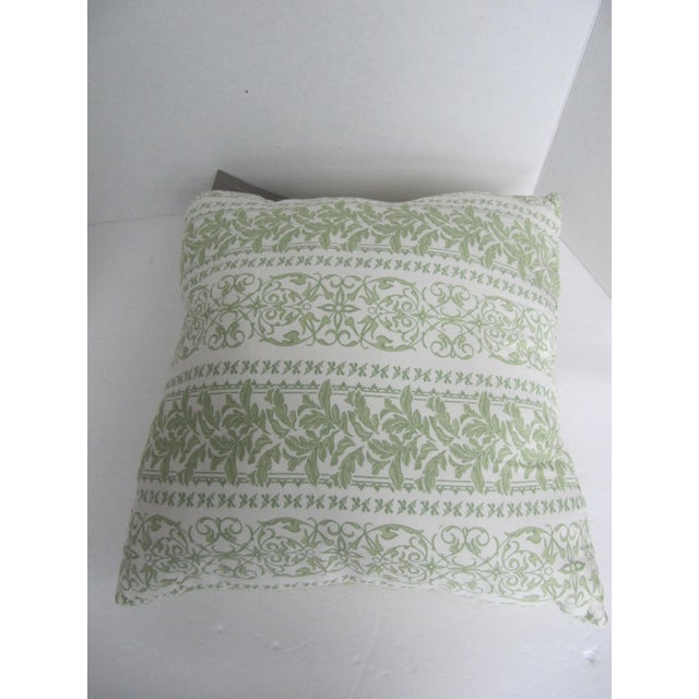 Pair of new green quilted toile pillows with complementary fabric on reverse, from the Williamsburg collection. Pillows...