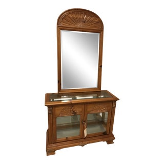 Chapman Washed Pine Curio Cabinet and Mirror