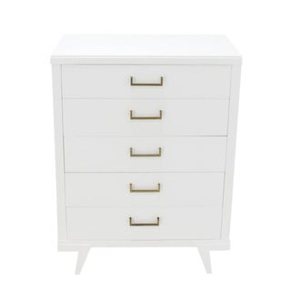 Hollywood Regency White Lacquer High Chest For Sale
