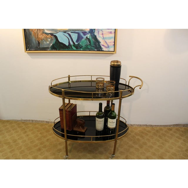 Mid-Century Modern Black Glass & Brass Bar Cart - Image 3 of 7