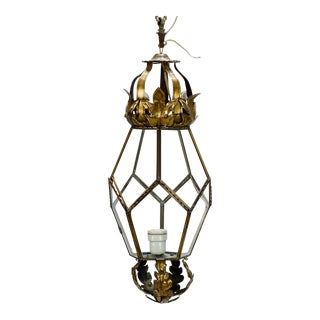 Italian Brass Lantern With Tole Details