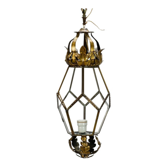 Italian Brass Lantern With Tole Details For Sale