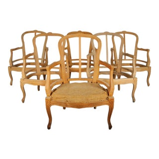 French Louis XVI Maple Armchairs Frames - Set of 6 For Sale