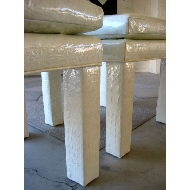 Croc Cream Leather Parson Style Stools - A Pair - Image 5 of 6