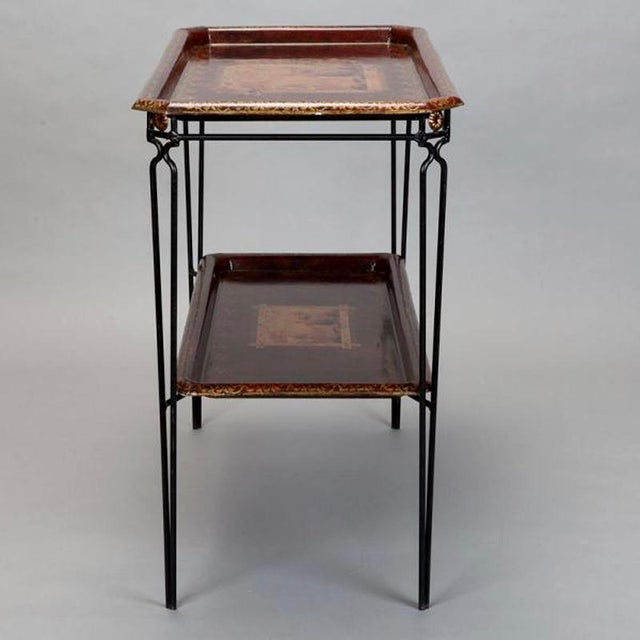 French French Two Tier Metal Tole Tray Console or Accent Table For Sale - Image 3 of 11