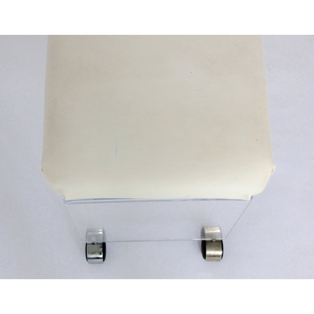 Vintage Lucite and Leather Rolling Stool - Image 7 of 9