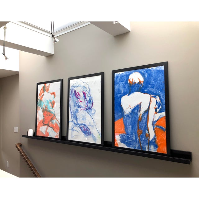"""2020s Contemporary Figure Drawing in Blue and Orange Pastel, """"Seated Figure in Blue and Orange"""" by Artist David O. Smith For Sale - Image 5 of 11"""
