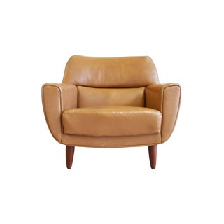 Danish Midcentury Tan Leather Lounge Chair by Illum Wikkelsø